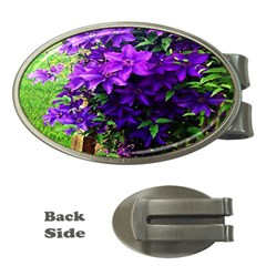 Purple Flowers Money Clip (oval)