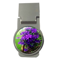 Purple Flowers Money Clip (round)