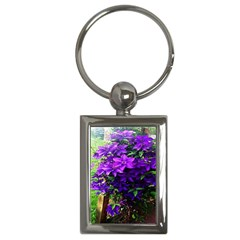 Purple Flowers Key Chain (Rectangle)