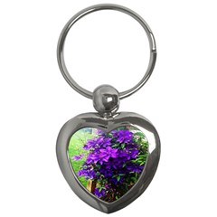 Purple Flowers Key Chain (Heart)