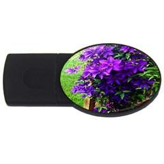 Purple Flowers 1GB USB Flash Drive (Oval)