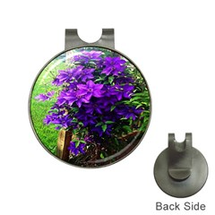 Purple Flowers Hat Clip with Golf Ball Marker