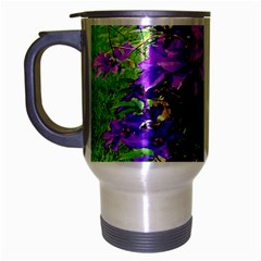 Purple Flowers Travel Mug (silver Gray)