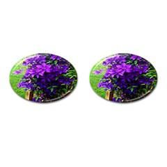 Purple Flowers Cufflinks (Oval)