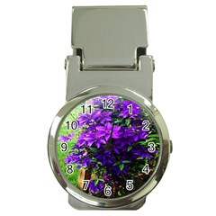 Purple Flowers Money Clip with Watch