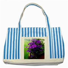 Purple Flowers Blue Striped Tote Bag