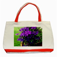 Purple Flowers Classic Tote Bag (Red)