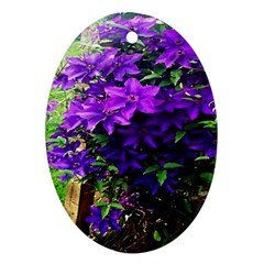 Purple Flowers Oval Ornament (Two Sides)