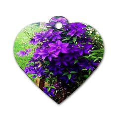 Purple Flowers Dog Tag Heart (Two Sided)