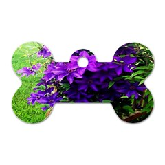 Purple Flowers Dog Tag Bone (Two Sided)