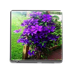 Purple Flowers Memory Card Reader With Storage (square)