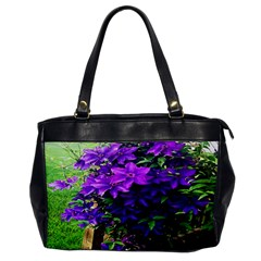 Purple Flowers Oversize Office Handbag (One Side)