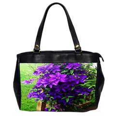 Purple Flowers Oversize Office Handbag (Two Sides)