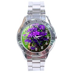 Purple Flowers Stainless Steel Watch