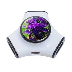 Purple Flowers 3 Port USB Hub