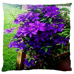 Purple Flowers Large Cushion Case (two Sided)
