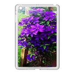 Purple Flowers Apple iPad Mini Case (White)