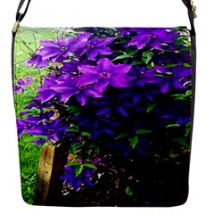 Purple Flowers Flap Closure Messenger Bag (Small)