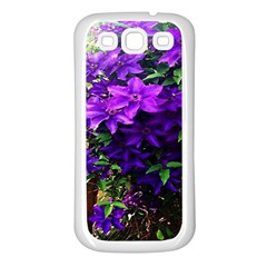 Purple Flowers Samsung Galaxy S3 Back Case (White)