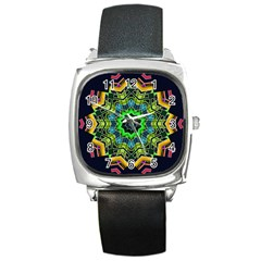 Big Burst Square Leather Watch