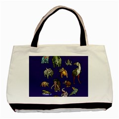 Dino Family 1 Twin Sided Black Tote Bag