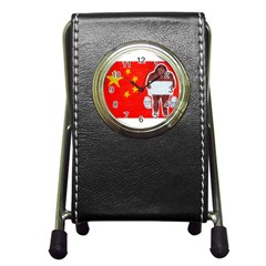 Yeh Ren Text On Chinese Flag  Stationery Holder Clock