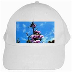 Pink Flower White Baseball Cap