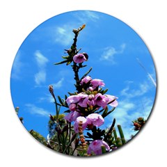 Pink Flower 8  Mouse Pad (round)