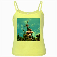 Pink Flower Yellow Spaghetti Tank