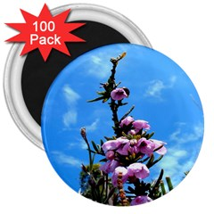 Pink Flower 3  Button Magnet (100 pack)