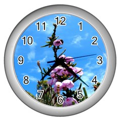 Pink Flower Wall Clock (Silver)