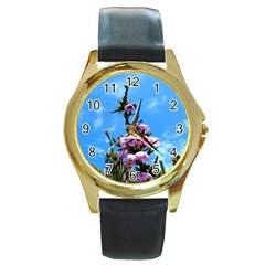 Pink Flower Round Leather Watch (Gold Rim)
