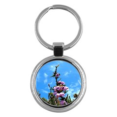 Pink Flower Key Chain (Round)