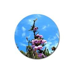 Pink Flower Magnet 3  (Round)