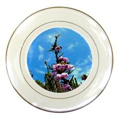 Pink Flower Porcelain Display Plate