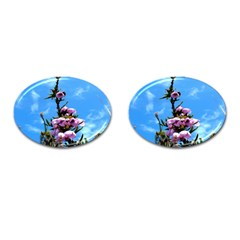 Pink Flower Cufflinks (Oval)