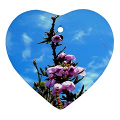 Pink Flower Heart Ornament (Two Sides)
