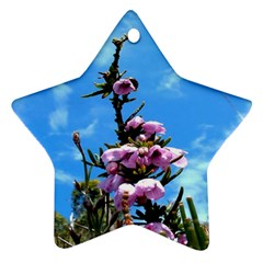Pink Flower Star Ornament (Two Sides)