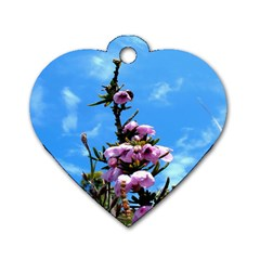 Pink Flower Dog Tag Heart (Two Sided)