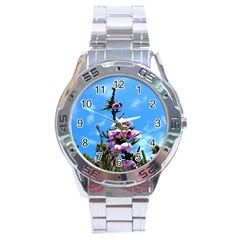 Pink Flower Stainless Steel Watch