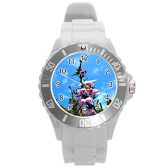 Pink Flower Plastic Sport Watch (Large)