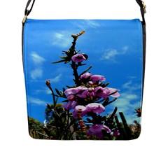 Pink Flower Flap Closure Messenger Bag (Large)