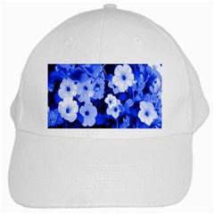 Blue Flowers White Baseball Cap
