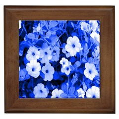 Blue Flowers Framed Ceramic Tile