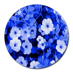 Blue Flowers 8  Mouse Pad (round)