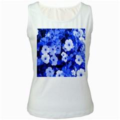 Blue Flowers Women s Tank Top (white)