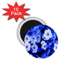 Blue Flowers 1.75  Button Magnet (10 pack)