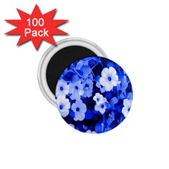 Blue Flowers 1.75  Button Magnet (100 pack)