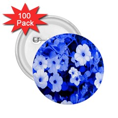 Blue Flowers 2.25  Button (100 pack)