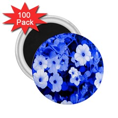 Blue Flowers 2.25  Button Magnet (100 pack)